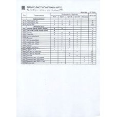 Прайс-лист с региональным коэффициентом (код  9600)