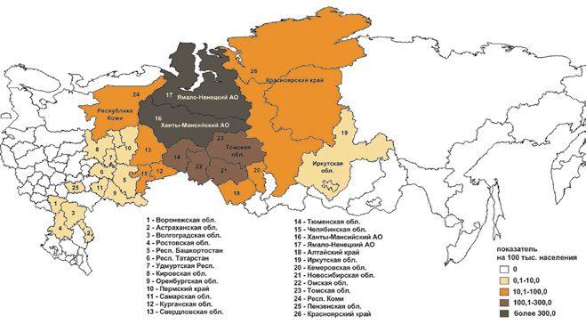 Административные территории России с местными случаями описторхоза (2010 г.)